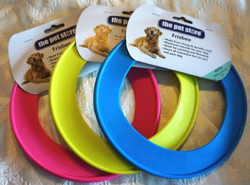 BRIGHT DOG FRISBEE/ RING FLYER DOG PUPPY FETCH TOY PINK/BLUE/YELLOW